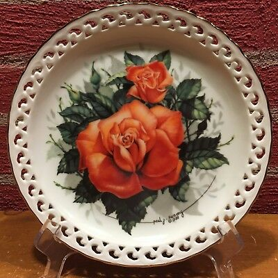 """The Hamilton Collection Plate """"Coral Cluster"""" Rose Paul Sweany 1988"""