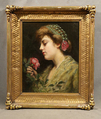Young Beautiful Girl  with Flower 19th Century Antique Painting Realistic Style