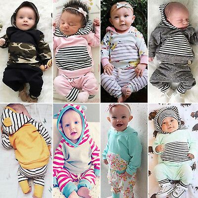 Newborn Baby Boys Girls Kids Hoodie T-shirt Tops+Long Pants Outfits Clothes Sets
