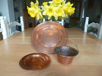 Gorgeous Collection of 3 Antique/Vintage Copper Items-Arts & Crafts