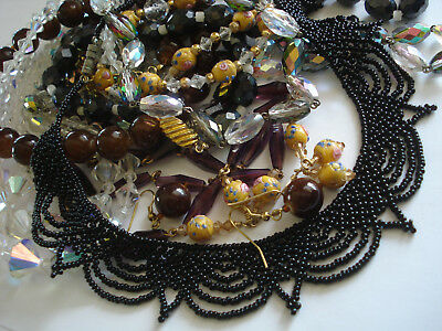"""VTG Antique Glass & Faceted Crystal Necklace Lot Stunning Triple Strand, 48"""" WOW"""