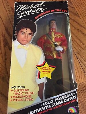 """Vintage Michael Jackson """"Superstar of The 80's"""" Beat it Doll With Box"""