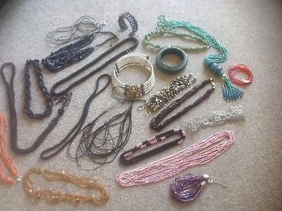 Pretty Large Job Lot Of Micro Beaded Costume Jewellery Necklaces ETC