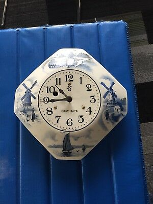Vintage Delft Porcelain Miller 8 day Wall Clock - For Repair - No Key