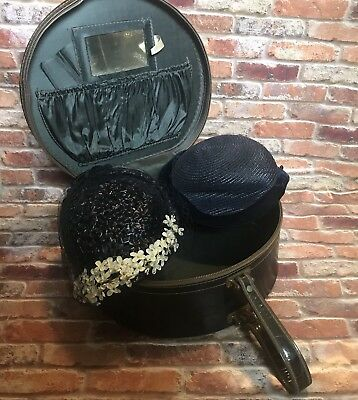 2 Hats and Hat Box- Vintage