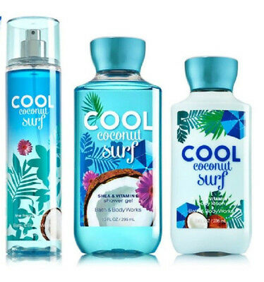 3 Pc Bath & Body Works Cool Coconut Surf Set - Lotion Shower Gel Fragrance Mist