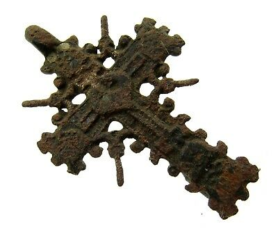 Authentic Late Medieval Bronze Radiate Cross Pendant - Wearable - E257