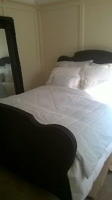 Shabby Chic Rococo Antique Frenchdouble bed finished in satin black