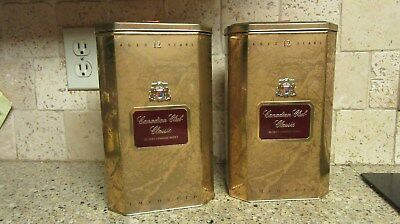 Set of 2 Vintage Canadian Club Whisky Classic Tin Made in England