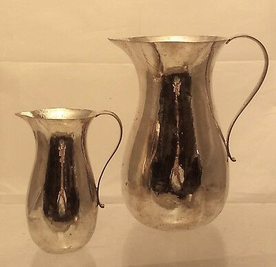 Pair of German Silver Hand Hammered Pitcher