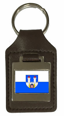 Leather Keyring  Engraved Chomutov City Czech Republic Flag