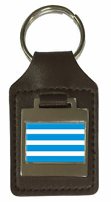 Leather Keyring  Engraved Most City Czech Republic Flag