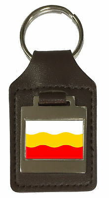 Leather Keyring  Engraved Decin City Czech Republic Flag