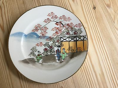 """Japanese plate mountain blossom scene hand-painted 7.5"""""""