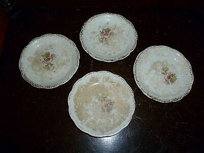 Set of (4) Antique Porcelain Butter Pats With Gold Trim