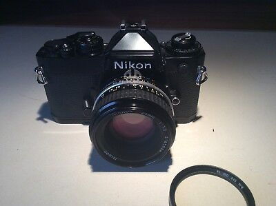 Nikon FE - Black - 35mm SLR Film Camera - 50mm 1:1.8 nikkor nikon lens.