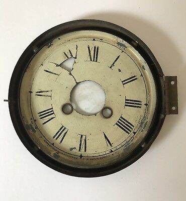 Antique Clock Dial With Brass Bezel - Glass Missing, In Need Of Restoration