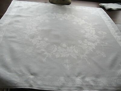 9 Finest Quality Antique Double Damask French White Linen Xl Dinner Napkin 26 In