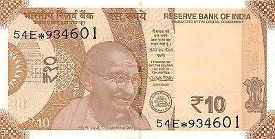 India 10 Rupiah, 2017 P.New Replacement About Uncirculated (AU) #4298
