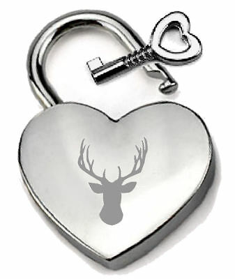 Silver Heart Padlock Optional Message Box Stag Head Groom Engraved