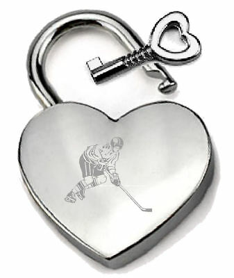 Silver Heart Padlock Optional Message Box Ice Hockey Sport Engraved
