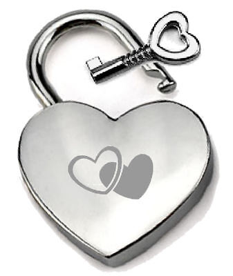 Silver Heart Padlock Optional Message Box - Engraved Two Hearts