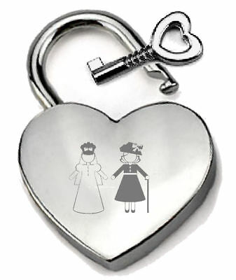 Silver Heart Padlock Optional Message Box - Engraved Mother of Bride