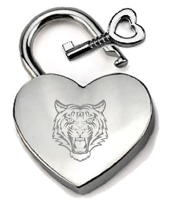 Silver Heart Padlock Optional Message Box Africa Tiger Engraved