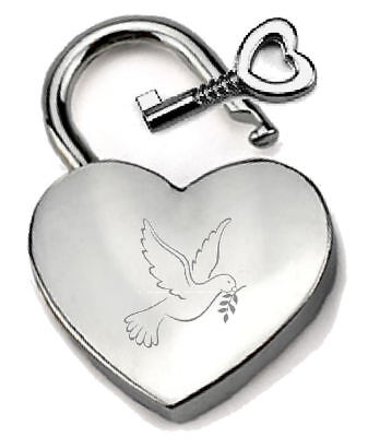 Silver Heart Padlock Optional Message Box - Engraved Message Dove