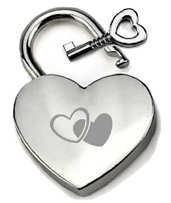 Silver-tone Heart Padlock Engraved Two Hearts