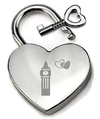 Silver Heart Padlock Optional Message Box - Engraved I Love London