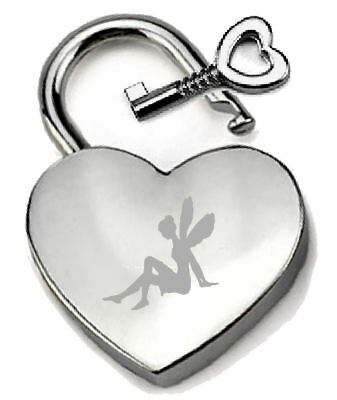 Silver Heart Padlock Optional Message Box - Engraved Fairy Angel