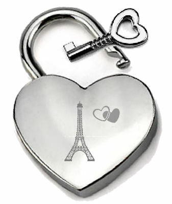 Silver Heart Padlock Optional Message Box - Engraved I Love Paris