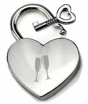 Silver Heart Padlock Optional Message Box - Engraved Champagne Congratulations