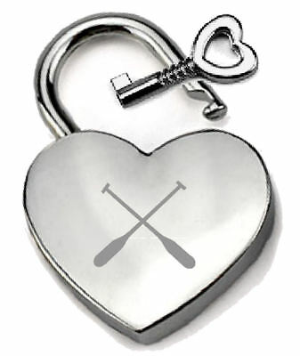 Silver Heart Padlock Optional Message Box - Engraved Crew Team