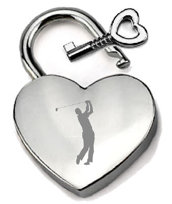 Silver Heart Padlock Optional Message Box - Engraved I Love Golf