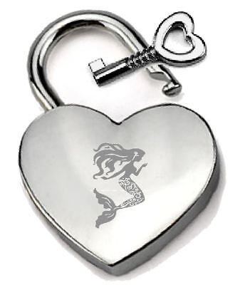 Silver Heart Padlock Optional Message Box - Engraved Mermaid