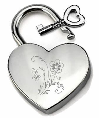 Silver Heart Padlock Optional Message Box - Engraved Flowers