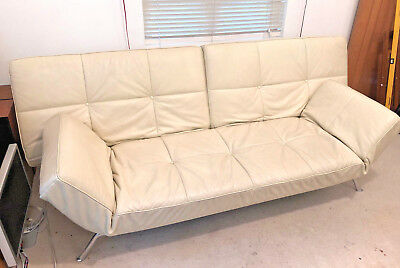 Ligne Roset Smala 3-seater adjustable sofa in cream leather, converts to sofabed