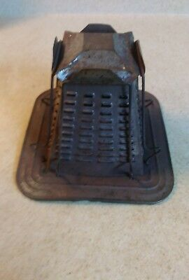 antique primitive tin 4 slice open flame bread toaster