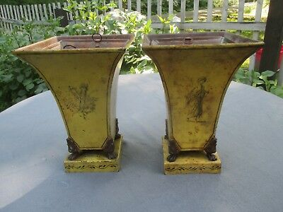 Vintage Pair of Empire Tole Urns with Copper Liners.