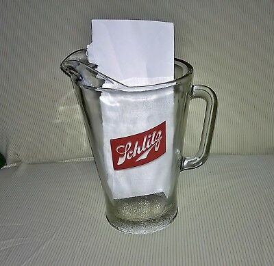"""Vintage Large Schlitz Beer Pitcher - """"The Beer That Made Milwaukee Famous"""""""