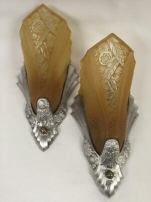 PAIR  ANTIQUE ART DECO WALL SCONCES FIXTURES WITH SHADES - Consolidated Glass