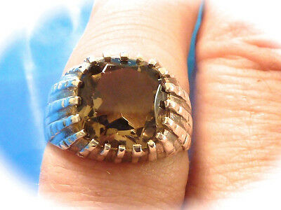 Sterling Silver Men's Smokey Quartz Ring Size 9.5  New Old Stock Found  Storage