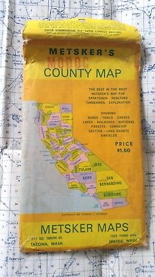 50s or 60s Vintage Metsker's Modoc County California Map