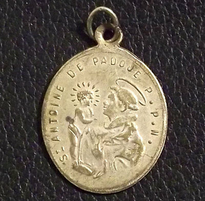 France C1900´s Antique Saint Anthony Of Padua & Miraculous Virgin Mary, Medal