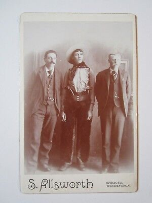 "Original Cabinet Photo - Cowboy with ""Hair Pants & Pistols"""