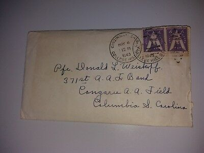 Cover Envelope with letter may 1943 College Hill Columbia - plane stamp