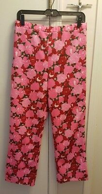 Vintage Lilly Pulitzer Women's Polyester Pink Green Red Floral Pants - Size 12