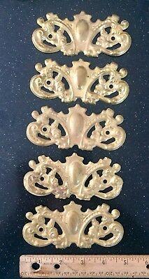 antique vintage stamped brass victorian drawer pull backplate lot of 4